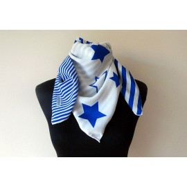 Bill Blass Stars and Stripes Electric Blue Vintage Silk Scarf