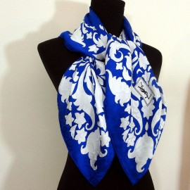Yves Saint Laurent Fabulous Azure Blue Large Vintage Silk Scarf