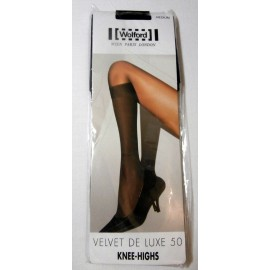 Wolford Velvet de Luxe 50 Knee Highs - Black - Medium - Knee Stockings