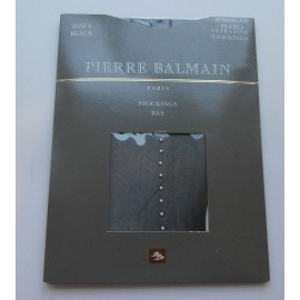 Pierre Balmain String of Pearls Black Ultra Fine Vintage Stockings