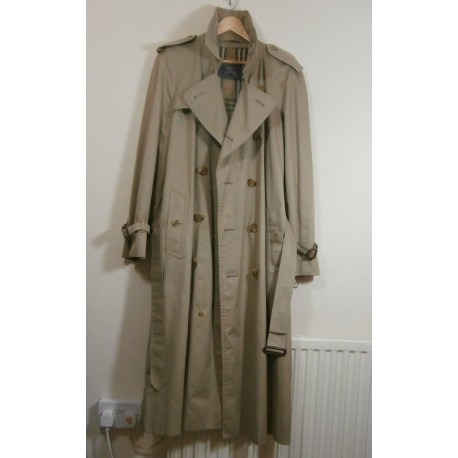 Men's Burberrys Trench Coat Vintage Belted Double Breasted Mac