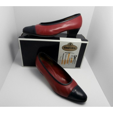 Church's Red and Blue Softee Leather Shoes, Court Vintage Shoes