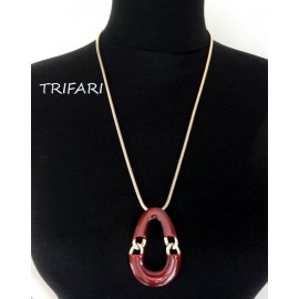 Trifari Enameled Look Bold Vintage Necklace 70's Look