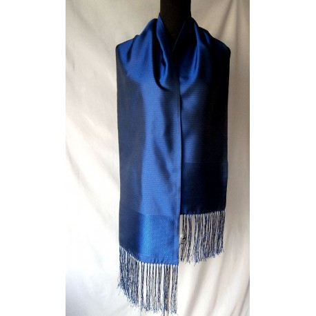 Sumptuous Bally Different Shades Sapphire Blue Silk Large Scarf