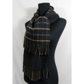 Johnstons of Elgin Cashmere Check and Stripe Scarf