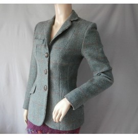 Katherine Hooker RARE Tweed Wool Jacket with Liberty Peacock Feather Detailing