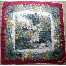 Aquascutum Ducks and Ducklings Vintage Silk Scarf