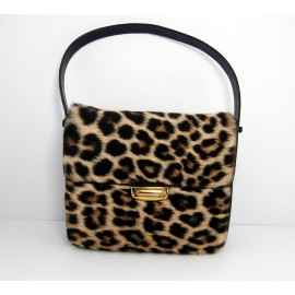 Fabulous Genuine Vintage 1960's Real Fur Leopard with Sumptuous Leather Bag