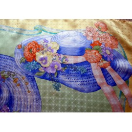Tino Lauri Beautiful Easter Bonnets Quality Vintage Large Silk Scarf