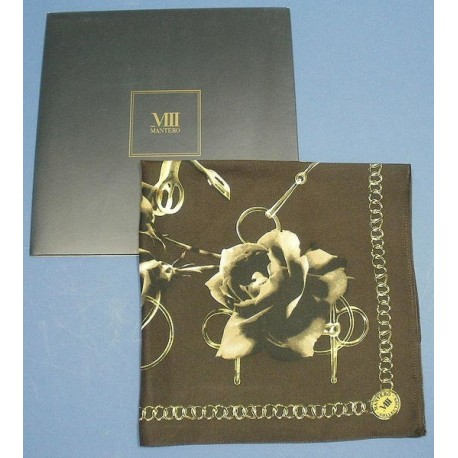 Mantero VIII Collection Silk Scarf Pocket Hanky BNIB Old Roses