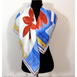 Charles Jourdan Designer Full Bloom Large Vintage Silk Scarf