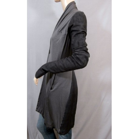 Brand New Rick Owens Lamb Leather and Silk Darkshadow Long Blazer Jacket