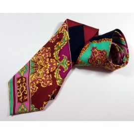 Gianni Versace Couture Baroque Checkerboard Silk Tie