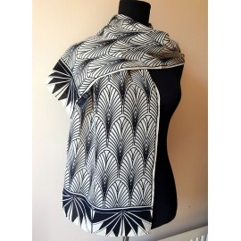 Striking Fox and Chave Art Deco Monochrome Silk Scarf
