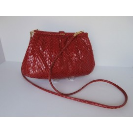 Super Leather School Vintage Red Snakeskin Shoulder Bag Clutch