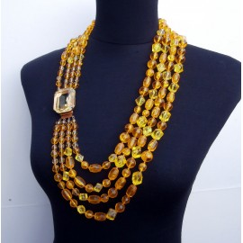 OMG Hattie Carnegie Vintage Huge Necklace 4 Strand Amber and Citrine Look