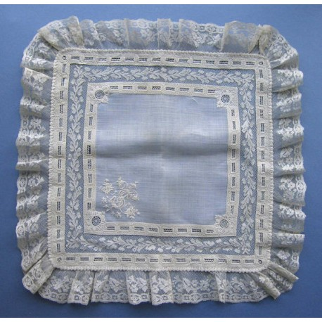 Antique EXQUISITE French Embroidered White work Handkerchief Valenciennes Lace
