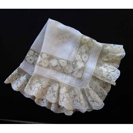 Antique French Valenciennes White work Lace Handkerchief
