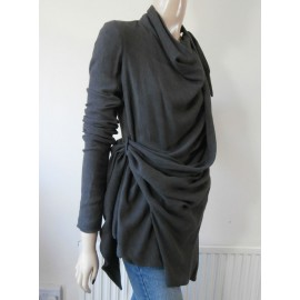 Rick Owens Jacket - Wrap Specially Stone Wash Wool and Silk Asymmetrical