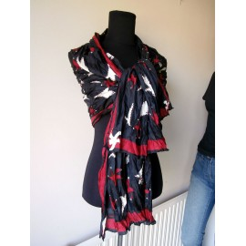 Celia Birtwell HUGE Jester Red, Black and White Silk Scarf