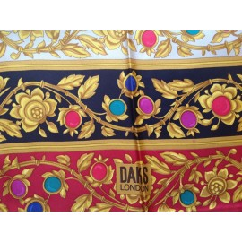 Daks Luxury Top Quality Large Silk Scarf Bold Jewel Colored Hand Rolled Hems, New