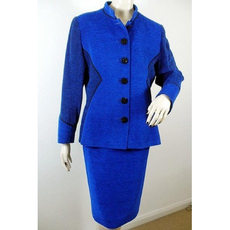 Yves Saint Laurent Vintage Suit Skirt Jacket Electric Blue Black Made in France