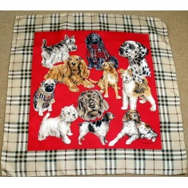 Burberry Large Nova Check Silk Scarf with Dogs.