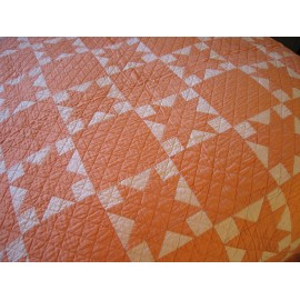 Lovely 1930's Authentic Vintage American OHIO STAR Quilt with SAWTOOTH Border
