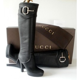 Authentic Gucci Black Leather Boots, Come with Box & Dustbag