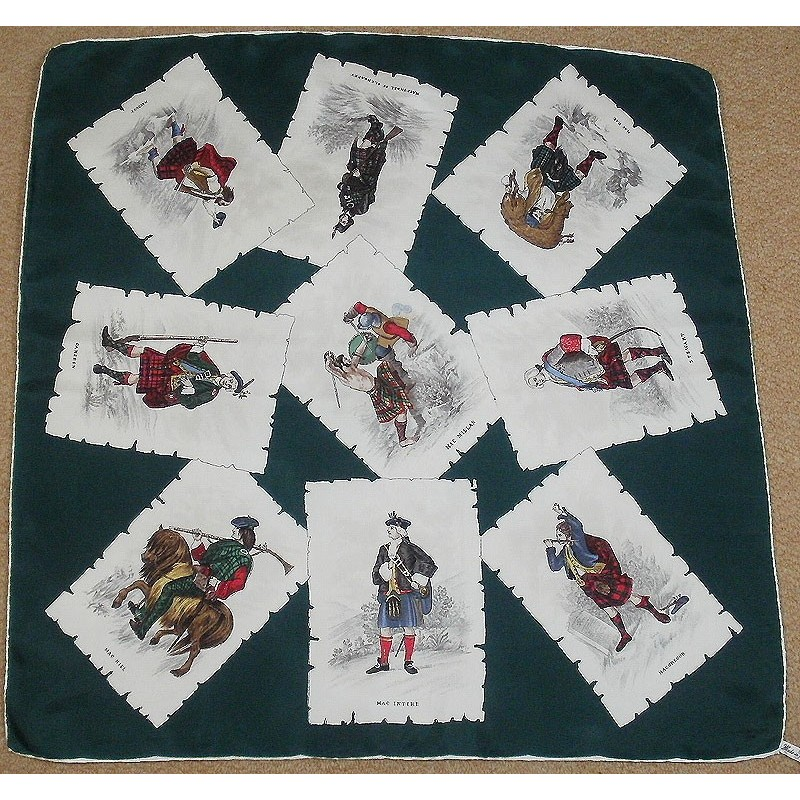 thirkell of bond vintage silk scarf scottish clans