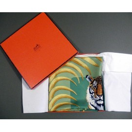 Hermes Tigre Royal 1977 Silk Scarf Christiane Vauzelles With Box