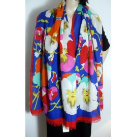 Kenzo Paris Beautiful Spring Pansies Scarf Shawl New with Tag