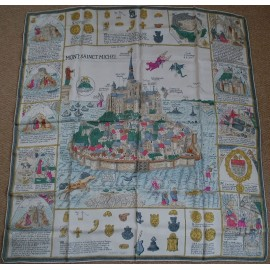Authentic Vintage Hermes Silk Scarf Mont Sainct Michel 1967