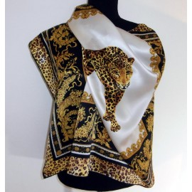 Fabulous Leopard & Gold Baroque Style Border Quality Large Vintage Silk Scarf