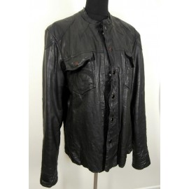 ALL SAINTS Spitalfields Black Leather Jacket Shirt XL