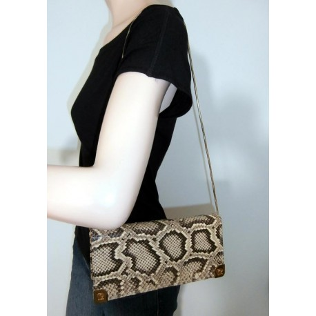 Super Pierre Cardin Snakeskin & Lined With Ostrich Vintage Handbag Clutch Bag