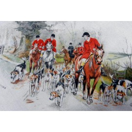 Going Home Super 1950's Horse & Hounds Great Graphics Large Vintage Silk Scarf