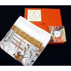 Auth Vintage Hermes Silk Twill Scarf L'Hiver 1968