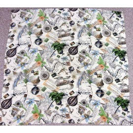 """Around The World"" Amazing Detail Large Vintage Silk Scarf"