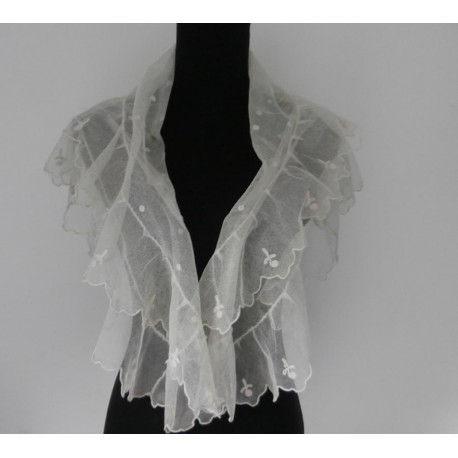 Antique Lace Shawl- Collar- Wrap Cream Embroidered Tulle