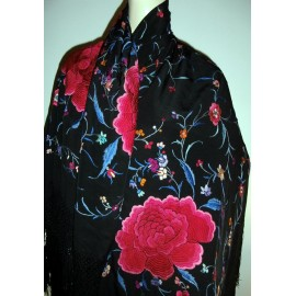 Vintage Silk Chinese Piano/ Canton Shawl Huge Embroidered Blossoms