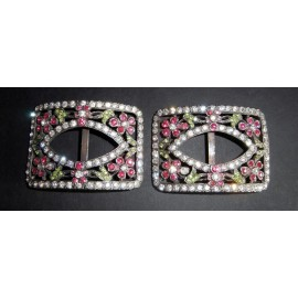 Antique Beautiful Pink and Green Stones Victorian Pair of Shoe Buckles