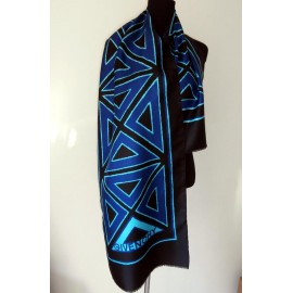 Givenchy Fabulous Azure Blue and Turquoise Huge Vintage Silk Scarf